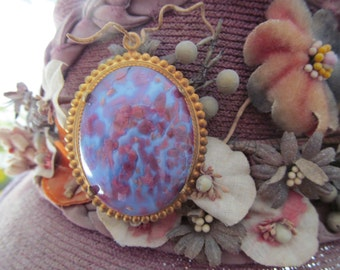 Purple And Pink Glass Cabochon In Vintage Beaded Edge Setting