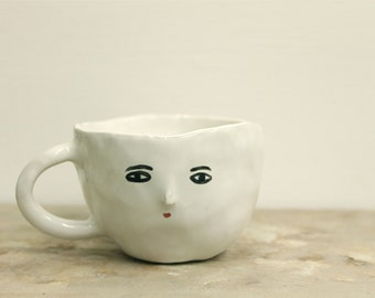 Wonky white cup - double espresso -  one of a kind