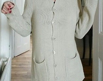 Edina Ronay designer handknit cardigan in beige cotton to fit uk 10 - 12