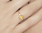 Oval-cut yellow sapphire Engagement Ring Diamond Engagement Ring Oval Engagement Ring vintage Oval Engagement Modern Bride Engagement Ring