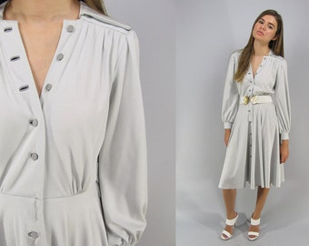 Vintage 70s Shirt Waist Dress, Jersey Dress, Disco Dress, Full Skirt, Drape, Silver Dress, Button Front Dress Δ size: sm