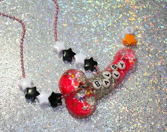 Ballsy Neon Pink and Silver Disco Dick Resin Penis Necklace mature