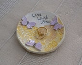 Yellow ring dish - holder with lavender butterflies - ring catcher - Ceramic candle holder (handbuilt)