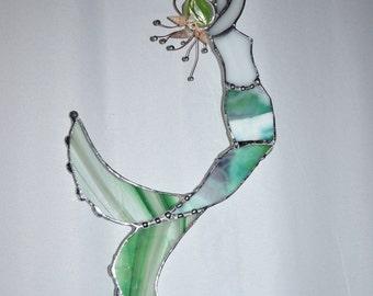 Mermaid - Custom - Sun Catcher - Stained Glass - Made To Order - Fantasy Art - Glass Art - Bathroom Decor - Beach Art - Mermaid Art