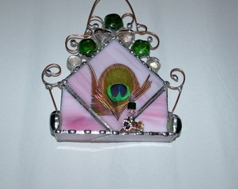 Ring Holder - Jewlery - Ring Tree - Pink Green - Unique Decor - Stained Glass - Jewlery Display - Ring Display - Glass Art - Personal