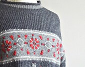 Nordic Sweater   Gray Sweater   Pullover   Embroidered Ski Sweater   Cozy   Oversize   Red and Gray   Snowflake