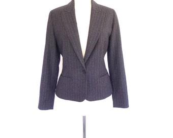 Gray Wool Blazer. Small - Medium. Petite. Vintage 80s Pinstripe Blazer. Ellen Tracy
