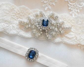 Wedding Garter  Set Lingerie Lace MONOGRAM Option Bridal Garter Set Gorgeous Crystalsl Lingerie Lace