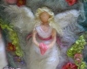 Guardian Angel, Blonde with Pink Heart. 8 x 10 inches Unframed Needle-Felted Wool Relief Picture by Castle of Costa Mesa