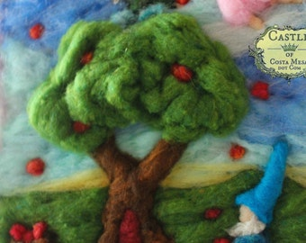 "Apple Harvest by Nunu. Unframed Needle-Felted Fall Wool Relief Fiber Artwork. 8""x10"" inches by Nunu. Castle of Costa Mesa"