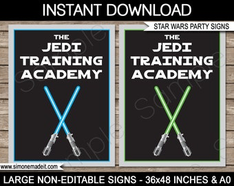 """Star Wars Party Signs - """"The Jedi Training Academy"""" - INSTANT DOWNLOAD - PDF files - 36x48 inches and A0 sizes"""