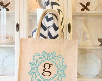 Monogrammed Tote Bag, Burlap Tote Bag,Custom Bag, Womens Accessory, Personalized Purse, Gift For Her,Beach Bag, Large Carryall Bag,