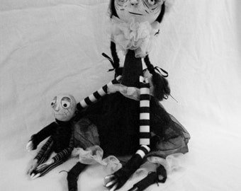 Ooak Art Doll Witch & Stitch Hand Made Zombie - Gothic
