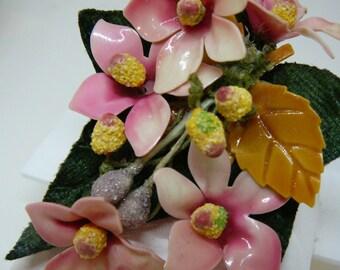 Vintage Pink Flower Corsage Pin