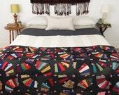 antique quilt, handmade quilt, vintage textile, fan quilt, wall art, early PA folk art circa 1890