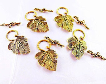 Gold plated Grape Leaf Toggle Clasp, Lot of 5  Jewelry Making Supplies