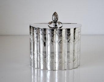 Silver Plate Scalloped Pineapple Trinket Box