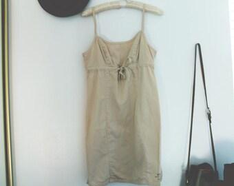 Vintage Guess 90s Tan Drawstring Summer Dress sz. 3/5