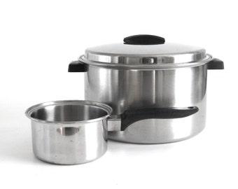 Ekco Flint Cookware: Dutch Oven 8 Qt with Lid, 1 Quart Saucepan without Lid, Pots Pans Stainless Radiant Heat Core Arrowhead