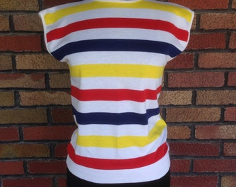 Vintage 1980s striped banded waist T-shirt