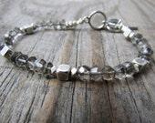 Smoky Quartz Bracelet, small, simple, faceted gemstone bracelet, tennis bracelet