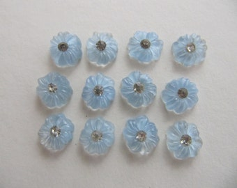 30 pcs Vintage 10mm pale blue crystal glass rhinestone cabochons, tiny blue glass flower cabs, jewelry component, crafting, card making