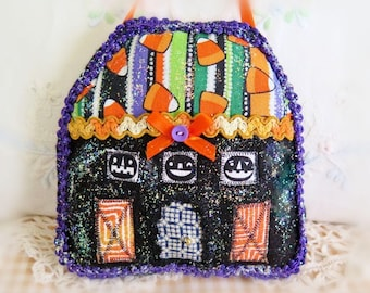 Halloween House Pillow 5 Inch Felt Cottage Pillow Door Hanger Autumn Fall  Primitive Party Favor Decoration CharlotteStyle Home Decor
