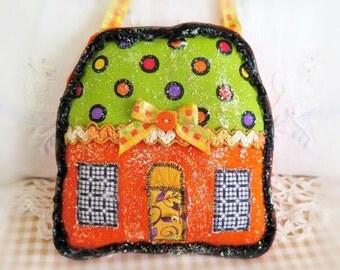 Halloween House Pillow 5 Inch Felt Cottage Pillow Door Hanger Autumn Fall  Primitive Party Favor Decoration CharlotteStyle Home Decor