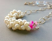 Freshwater Pearl and Hot Pink Chalcedony Necklace with Chunky Gold Chain