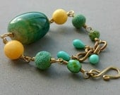 Chunky Bracelet with Green Agate, Yellow Coral, Vintage Glass and Brass