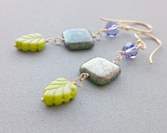 RESERVED Green Leaf Earrings - Chartreuse Green Glass, Pyrite and Swarovski Crystal Earrings Simple Dangle Boho Earrings