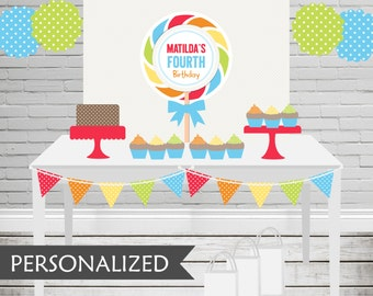 Printable Rainbow Lollipop Party Backdrop - 3x4 ft. Personalized Printable Party Poster for Candy Themed Parties .. rl01