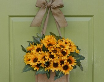 Sunflower Wreath - Burlap Wreath - Summer Wreath Alternative
