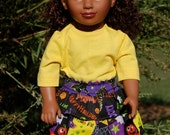 18 Inch Doll Clothes - Halloween Skirt & Tights, Coordinating Yellow T-Shirt
