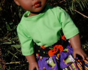18 Inch American Girl Doll Clothes - Halloween Layered Skirt w/matching tights & Lime Green T-Shirt