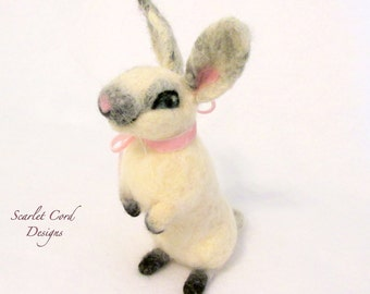 Felted Bunny, Needle Felted Rabbit, Spring Bunny, Needle Felted Bunny, White and Pink Rabbit, Easter Bunny, Ready to Ship