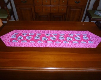 Valentine Table Runner - Squirrels nuts about you pink gray skinny centerpiece topper or scarf