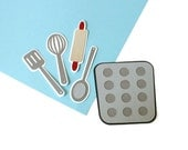 Baking Utensil die cuts  (3 in.) - choose your dies (C102)
