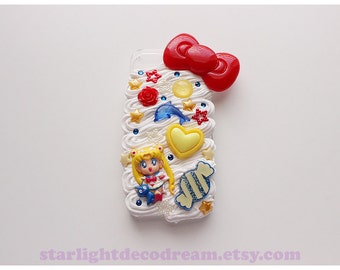 Sailor Moon Red White Yellow and Blue Sweets n' Cream iPhone 5S Deco Decoden Case for Kawaii Fairy Kei or Cute Style