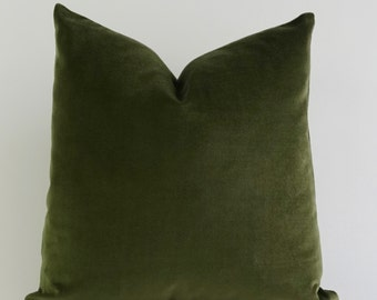 Decorative Pillow Cover Olive Green - 16x16 TO 26x26  Medium Weight Cotton Velvet - Invisible Zipper Closure- - Knife Or Piping Edge