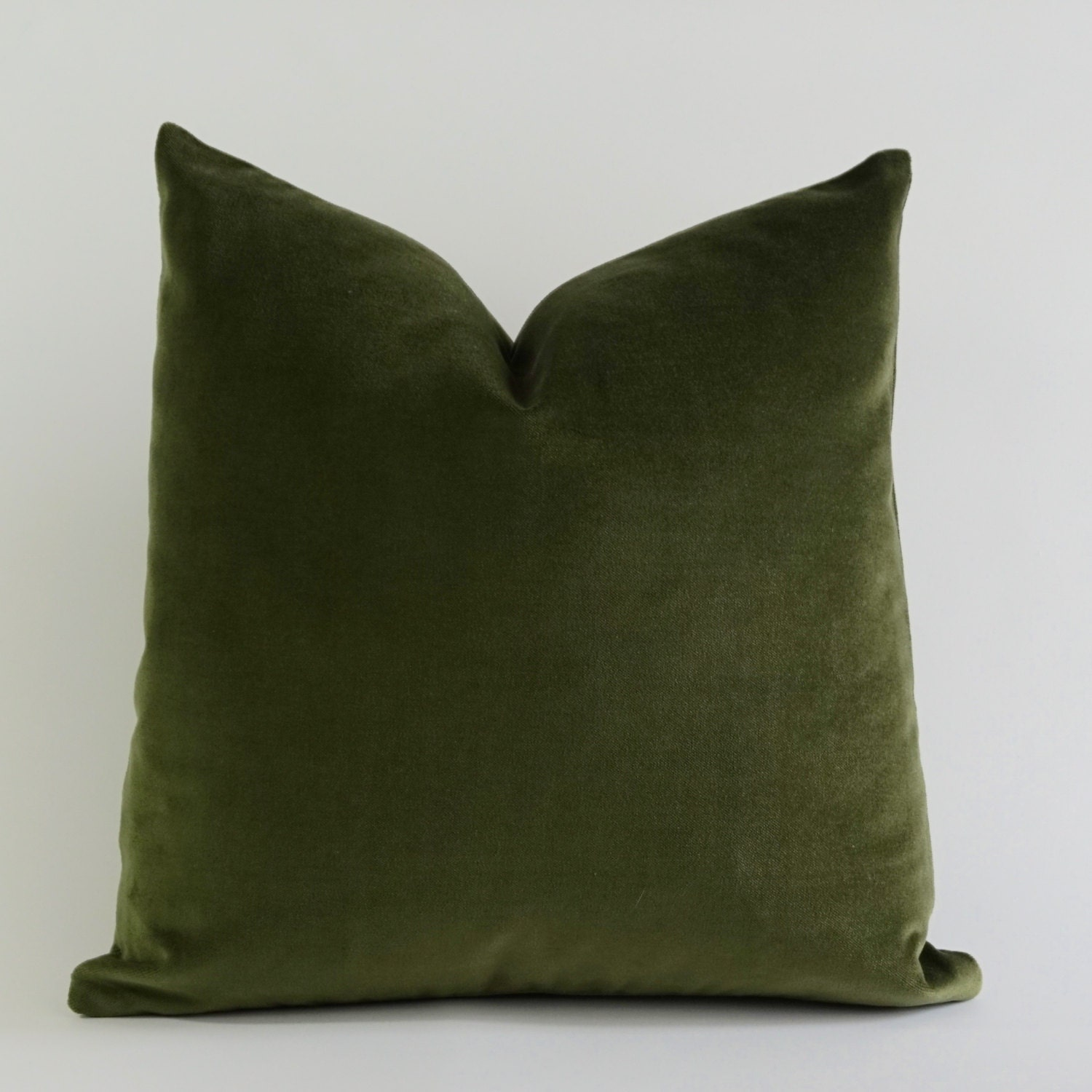 Olive Green Cotton Velvet Pillow Cover Decorative Accent