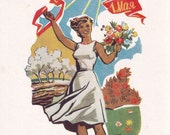 "Signed. May 1st - ""Spring and Labor Day"" Postcard by A. Shmidshtein -- 1961"