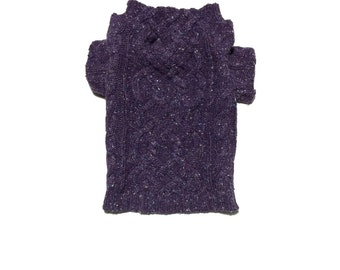 Designer Dog Sweater, X Small Purple Cable Knit Wool and Silk Blend Handmade Pet Apparel, Girl Dog Clothes 0197