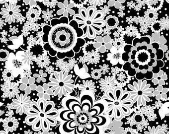 LAMINATED cotton fabric by the yard - Parisian Floral on black (aka oilcloth fabric by the yard, coated, vinyl)