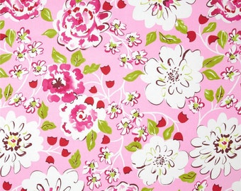 1/2 yard LAMINATED cotton fabric - 18 x 40 Ying Ming Pink Tea Garden - BPA free - Approved for children's products