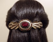 Large  Barrette For Thick Hair/  Red and Gold Color /One of a Kind