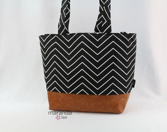 Lulu Large Tote Diaper Bag Black Chevron Skinny and PU Leather with Grey Lining  6 pockets Nappy Bag