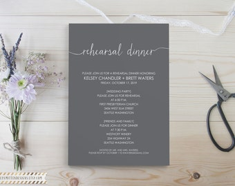 Rehearsal Invite - Dinner Invitation - Wedding Rehearsal - Rehearsal Dinner - Bar Menu Wedding - Wedding Invitation - Printable Invitation