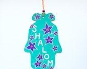 Shalom Hamsa Wall Art, Hand Painted Wood Art Home Decor, Housewarming, Hannukah, Holiday Gift, Welcome Sign