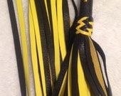 "Embriodered  Handle YELLOW ""OBEY"" Leather Flogger"